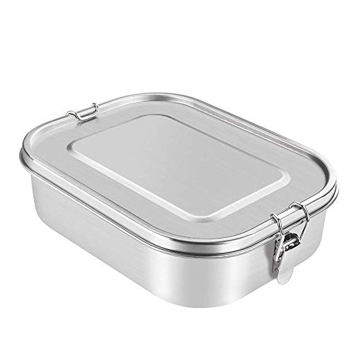 BIENSER Edelstahl Brotdose 1400ml, Auslaufsichere Lunchbox mit Herausnehmbarer Trennwand Abtrennung, BPA Frei & Plastikfreie, Bento Box für Kinder & Erwachsene