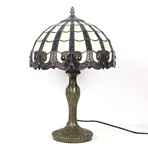 Lámparas de mesa Iluminación del estilo de Tiffany lámpara de mesa del vidrio manchado de la vendimia de la antigüedad tribal ligera de la decoración de la sala de noche Habitación Hotel Cafetería Reg