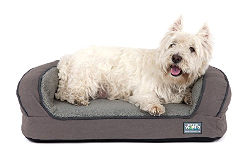 """Better World Pets Super Comfort Bolster Dog Bed   New Cover   Waterproof Orthopedic Memory Foam   Durable Canvas, Extra Plush Foam Bolsters   5"""" Thick, Washable (Small (1-25 lbs), Wolf Grey)"""