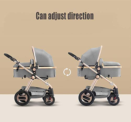LAMTON Stroller is Suitable for Newborns, can sit and Recline Fast Folding Four Seasons Baby Stroller Suitable for Newborns to Send 6 Gifts, Suitable for 0-36 Months Baby,Blue (Color : Purple) LAMTON The stroller frame is made of stainless steel to make the stroller stronger. The stroller awning is made of linen and is very breathable. Stroller configuration: equipped with five-point seat belt, detachable armrest, adjustable push rod height, bottom enlarged basket The front wheel design of the stroller can be rotated 360°, the built-in spring shockproof, strong shockproof, adapt to all kinds of bumpy roads, make the baby more comfortable 2