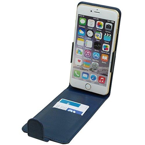 Vertikal Flip Case Klapp Etui Hülle für Archos Core 57S 5,3-5,8 Zoll Smartphone Handytasche Blau