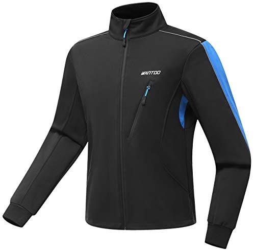 Wantdo Men's Athletic Fleece Shell Waterproof jacket Bike Winter Coat Blue 2XL