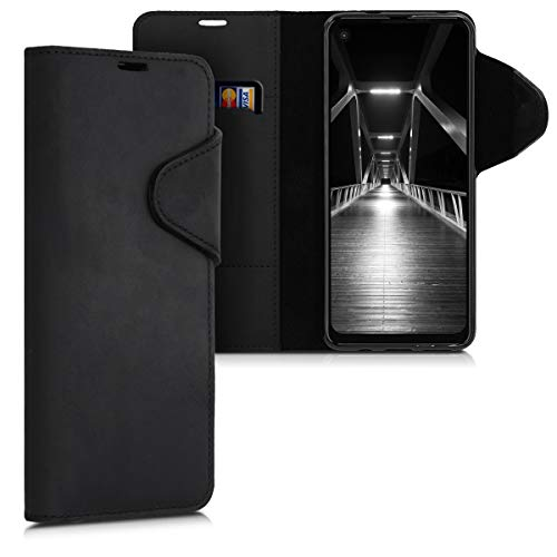 kalibri Hülle kompatibel mit Motorola One Vision - Leder Handyhülle Handy Hülle Cover - Schutzhülle in Schwarz