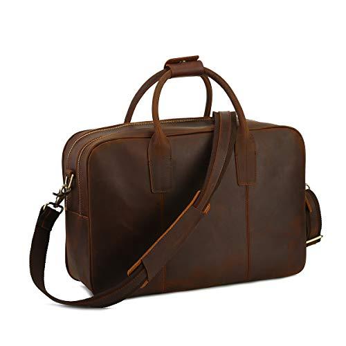 """Leathario Męska teczka torba z prawdziwej skóry torebka 14"""" torba na laptopa listonoszka na ramię biznesowa luksusowa vintage torba crossbody retro wypoczynek moda dla mężczyzn biuro podróż weekend brązowy"""