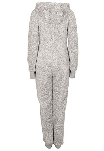 Eight2Nine Damen Jumpsuit aus kuscheligem Teddy Fleece | Overall | Ganzkörperanzug mit Ohren Light-grey1 L/XL - 4