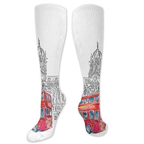 Calcetines de compresión altos, estilo shabby chic con ramas, fragancia, esencia, calcetines para mujeres y hombres, ideales para correr, atletismo, senderismo, viajes, vuelo.