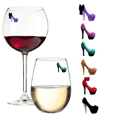 Simply Charmed High Heels Wine Glass Charms & Magnetic Drink Markers Novelty Glass Markers, Set Of 6