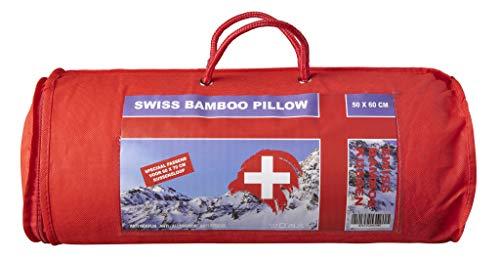 Almohada de bambú con memoria de forma, antialérgico suizo blanco, 50 x 60 cm, cojín antiestrés