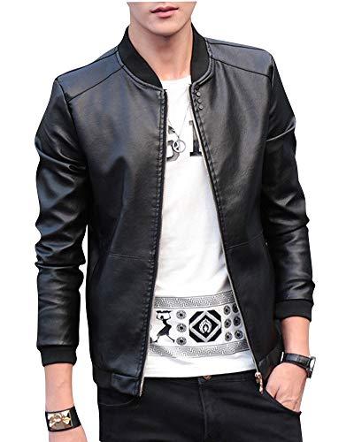 HX fashion Uomo Giacca da in Pelle con Tacco Taglie Comode Corto Stile Motociclista con cerniera trapuntata medio Schwarz
