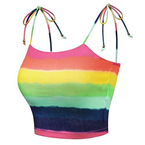 Allegra K Camiseta Crop Top Sin Mangas De Verano Tube Top Correas De Espagueti Arco Iris De Colores A Rayas para Mujeres - Multicolor Tie-Dye/XS