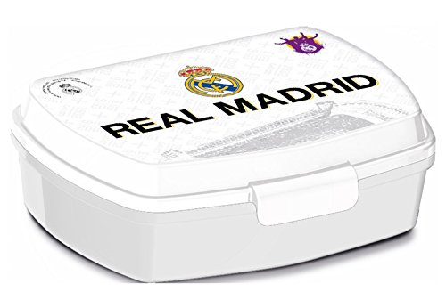 ALMACENESADAN, 0435, Sandwichera Rectangular Multicolor Real Madrid CF, 15x10x5,5 cms