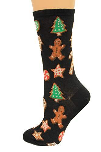 HotSox Womens Christmas Cookies Socks, Black, 1 Pair, Womens Shoe 4-10