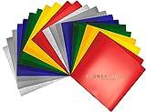 Hojas adhesivas de vinilo de 12 pulgadas x 12 pulgadas – 20 hojas de colores surtidos para fabricante, explorar, silueta Cameo + bono 12 x 12 hojas metálicas (Paquete de 22, surtidas)