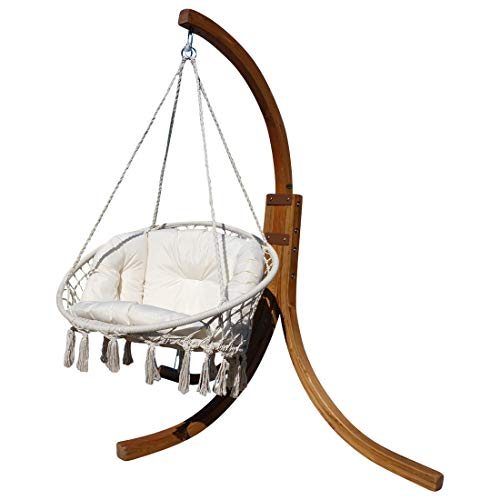 CONCEPTION Hamac support Navassa mélèze bois avec fauteuil suspendu accroché couchette couchette pendre transat et parasol de AS-S