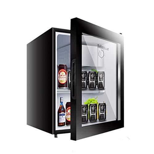 Mini-nevera Lxn Refrigerador Negro para Bebidas, 50 l, refrigerador bajo mostrador con Compartimiento para Enfriador Cubierto, Puerta de Vidrio con estantes extraíbles Ajustables