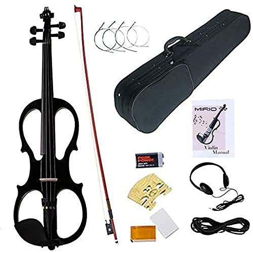 Electric Violin 4/4, MIRIO Black Full Size Solid Wood Electronic/Silent Violin With Ebony Fittings, Carrying Case, Audio Cable, Rosin for Beginner Student (black)