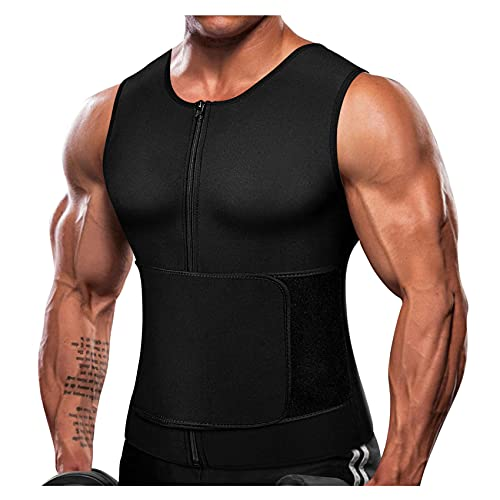 Mens Waist Trainer Sauna Suit for Workout Trimmer Plus Size Belt for Men Corset Sweat Vest Weighted Tank Top Faja Para Hombre (Black, 6X-Large)