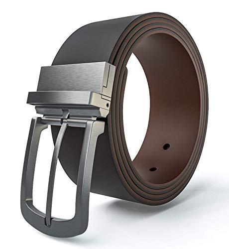 viannchi Cinturón reversible hombre, cinturón de piel genuino en dos tonos de Marrón con correa ajustable en diferentes tallas. Tamaño grande (125)