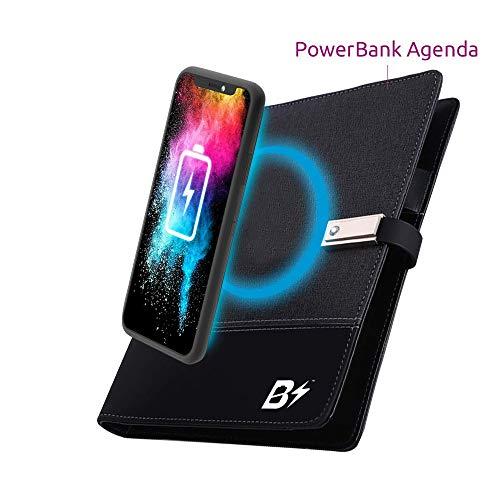 BETTERSHOP ™ [QI-CERTIFIED] Notebook-organizer met 80 lederen A5-vellen met geïntegreerde Powerbank PowerBank 8000 mah draadloze oplader Snel opladen compatibel met alle Qi-apparaten