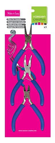 Vaessen Creative Set mit 3 Zangen für Schmuckherstellung und Do-it-yourself-Projekte - Rundzange, Gebogene Zange, Seitenschneider