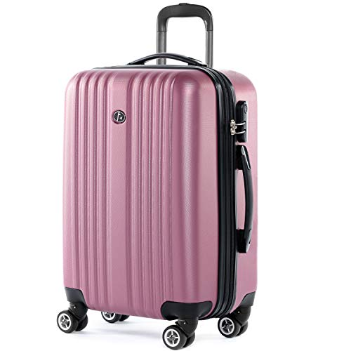 FERGÉ Trolley bagaglio a mano TOLOSA - Valigia rigida 55x35x22 cm valigetta bagaglio cabina 4 ruote girevole rosa