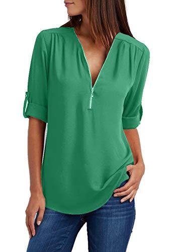 Damen Chiffon Blusen Elegante Reißverschluss Langarmshirts Bluse Tunika Oberteile T-Shirt V-Ausschnitt Tops Grün XL