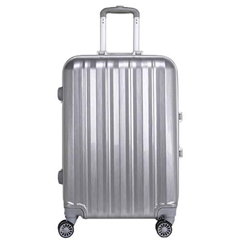 fosa1 Hand Luggage Trolley case PC Waterproof Aluminum Alloy 24'' Trolley Case, Universal Wheel Metal Silver