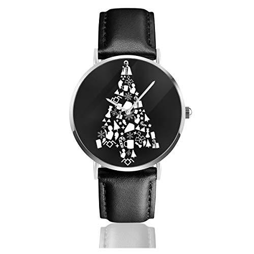 Unisex Business Casual Twin Peaks Weihnachts-Silhouette Muster Uhren Quarz Leder Armbanduhr mit schwarzem Lederband für Männer Frauen Junge Kollektion Geschenk