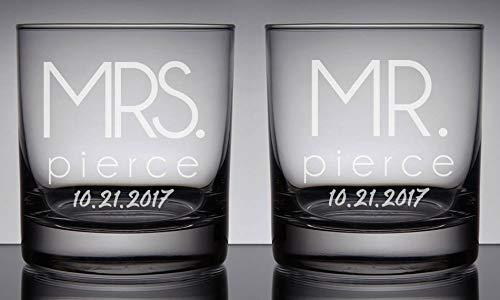 DKISEE Mr. & Mrs. Whiskey bril, bruiloftscadeau, bruidegom wijnglazen, bruiloftscadeau-ideeën, gegraveerd glas, 11 Ounce dikke gewogen bodem helder wijnglas, set van 2 11 oz G009
