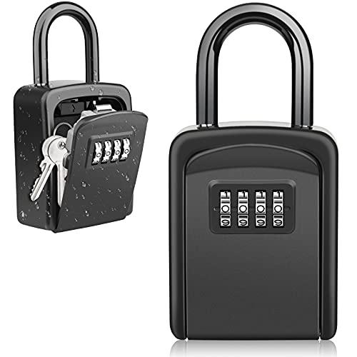 Diyife Schlüsseltresor mit Bügel, [Neueste] Wasserdichter Schlüsselkasten Schlüsselbox für den Außenbereich, Kombination Schlüsselsafe für Zuhause, Garage, Schule