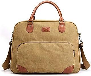 DIEBELLAU Men's Canvas Bag Business Shoulder Cloth Bag Fashion Travel Bag Casual Messenger Men's Portable Bag (Color : Khaki)