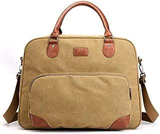 Men's Canvas Bag Business Shoulder Cloth Bag Fashion Travel Bag Casual Messenger Men's Portable Bag JAUROUXIYUJINn (Color : Khaki)