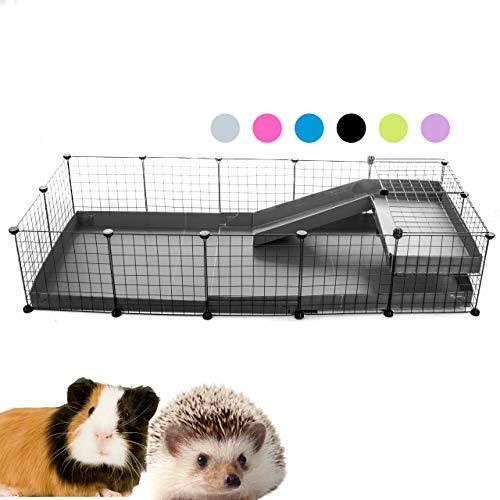 Kavee C&C Metallgitter Käfig für Kleintiere, erweiterbar, DIY, mit Bodenplatten, Freigehege, Laufstall für Haustiere, Meerschweinchen, Igel, Schildkröte 5x2 Loft0