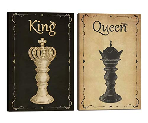 Chess Canvas Wall Art for Living Room Bedroom Bathroom Vintage King and Queen Home Wall Decor Chess Painting Picture Art Print Antique Decor Giclee Artwork Framed Ready to Hang 2 Pieces Gift