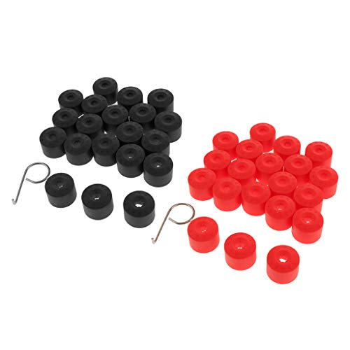 PETSOLA 40 Juego de Tuercas de Rueda, Tornillos para Neumáticos, Tapa Antipolvo, Rojo + Negro para