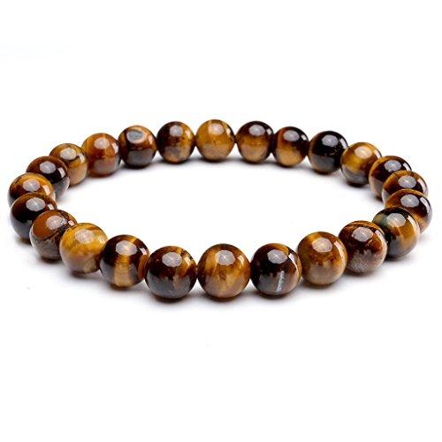 Jovivi Men Natural Tiger Eye Bracelet Women Semi Precious Gemstone Prayer Mala Beads Healing Reiki Chakra Elastic Yoga Bracelet Bangle
