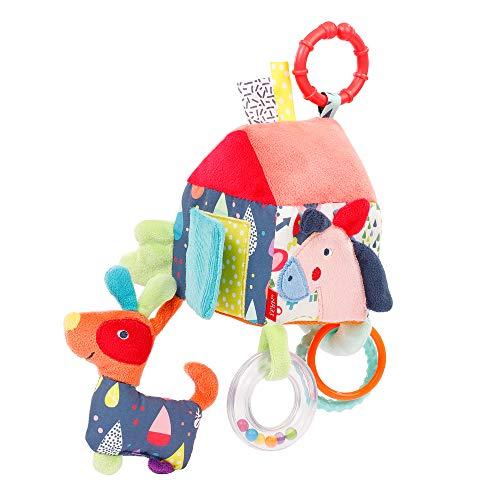Fehn 055269 Activity-Haus COLOR Friends – Spielzeug zum Aufhängen für Babys und Kleinkinder ab 0+ Monaten – Fördert Tastsinn & Feinmotorik – Größe: 13 x 9 x 9 cm