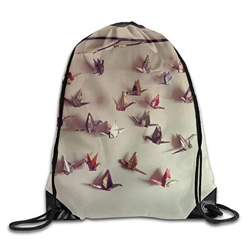 ZHIZIQIU Drawstring Bags Bulk Colorful Hanging Crane Origami Pattern Drawstring Backpack Bag Shoulder Bags Bag For Adult Size: 4133cm