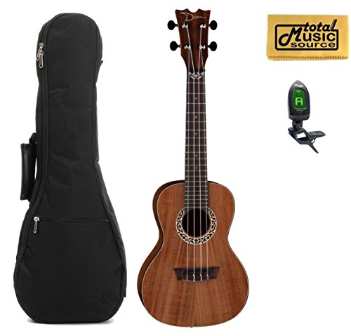 Dean Concert Ukulele, Koa Wood, Satin Natural, W/Padded Gigbag,Tuner & PC