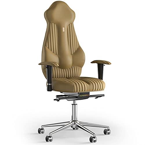 KULIK SYSTEM Imperial - Silla de escritorio para ordenador con respaldo y cojín de asiento ergonómico patentado, silla de oficina ergonómica, costuras de piel sintética (beige)