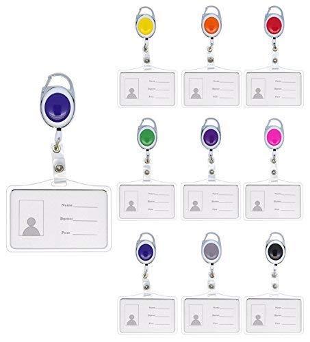 Schmalz® Kartenhalter aus Metall mit Ausweisjojo Ausweis JoJo mit Karabinerhaken für 1 eine Karte für Ausweise Dienstausweise EC Karten Gesundheitskarten benutzbar als Kartenhüllen (pink)
