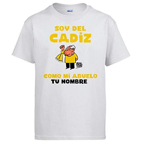 Camiseta Soy del Cádiz como mi Abuelo Personalizable con Nombre ilustrado por Jorge Crespo Cano - Blanco, 3-4 años