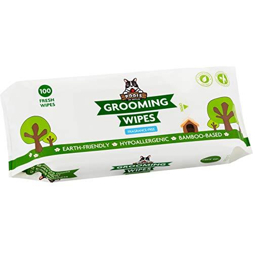 Pogi's Grooming Wipes - Toallitas húmedas - 100 toallitas desodorantes para Perros - No perfumadas, Naturales, Extra Grandes, biodegradables ✅