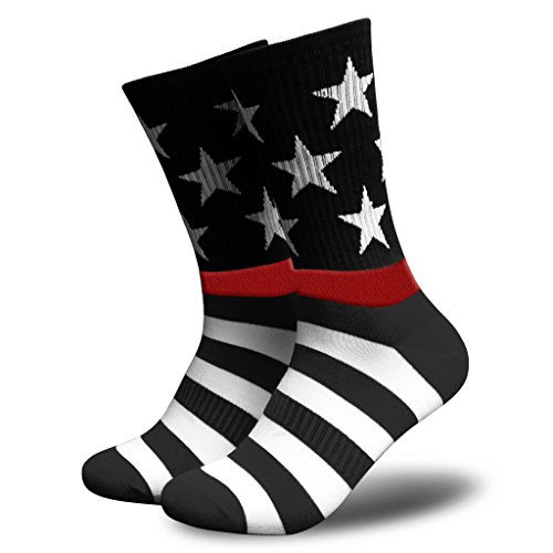 Tactical Pro Supply American Flag Socks - Patriotic USA Freedom Premium High Socks Nylon Spandex Polyester Materials -For Workouts Men Women Black White Red Line (Mens)