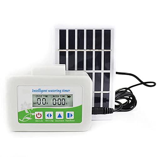 CYzpf Temporizador de Riego Automático Energía Solar LCD Programador Jardínistema Control Controlador Aspersores para el Hogar Jardinería Planta Balcón Patio Vegetal,