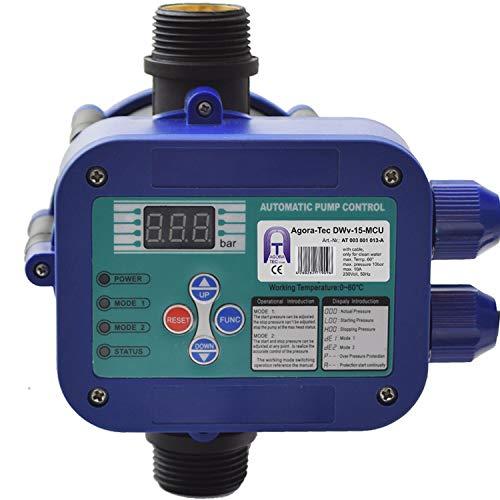 Agora-Tec® Pumpen Steuerung Druckschalter Durchflusswächter AT-DWv-15-MCU verkabelt (Abschalt Druck einstellbar) mit Trockenlaufschutz, Überdrucküberwachung