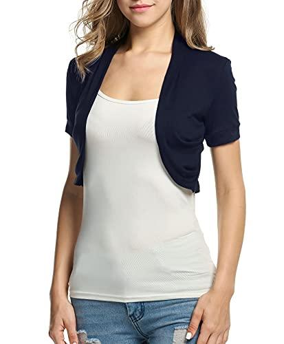 BEAUTYTALK Women's Short Sleeve Lightweight Bolero Shrug Open Front Cardigan(Navy Blue,XL)