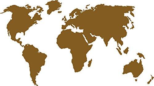 GRAZDesign Wanddeko Globus - Wandtattoo Büro Weltkarte - Wandtattoo Schriftzug Kontinent - Wandtattoo Welt / 71x40cm / 091 Gold
