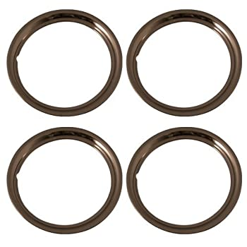 Set of 4 Stainless Steel 15 Inch Beauty Trim Rings with Metal Clip Retention System - Part Number  IWC1515S