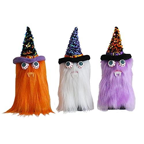 SUFUBAI Juego de 3 decoraciones de muñecas de Halloween, juguete de peluche de Halloween, sin rostro, gnomo de elfo sueco enano para decoración de fiestas en el hogar